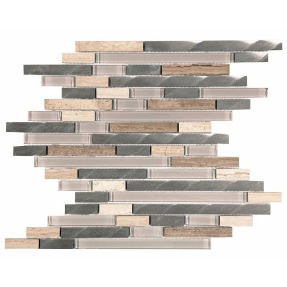 Bati Orient Mix Mosaic Baguette Beige Marble Glass Brushed Metal
