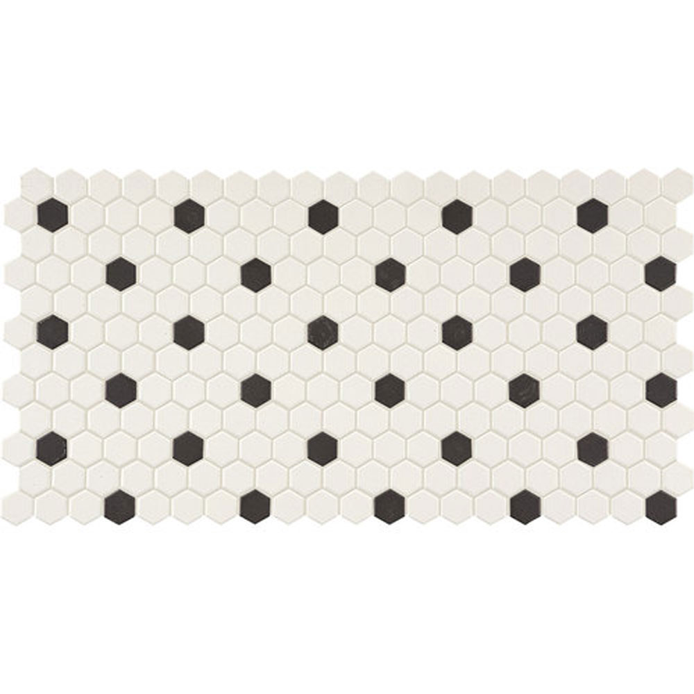Daltile Keystones Blends Hexagon White With Black Dots 1 X