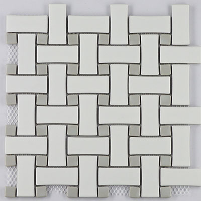 prima tile retro mosaic basketweave white with gloss grey dot