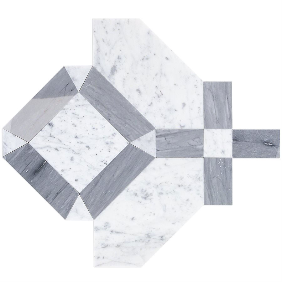 SOHO Studio Corp Water Jet Mosaic MJ Immaculata White Carrara Burlington Gray