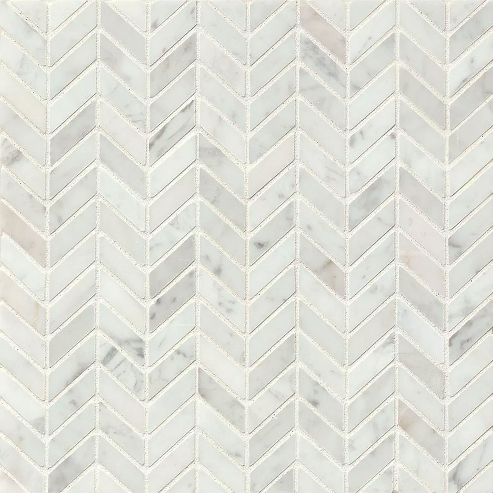 tilecrest marble stone chevron mosaic white carrara honed