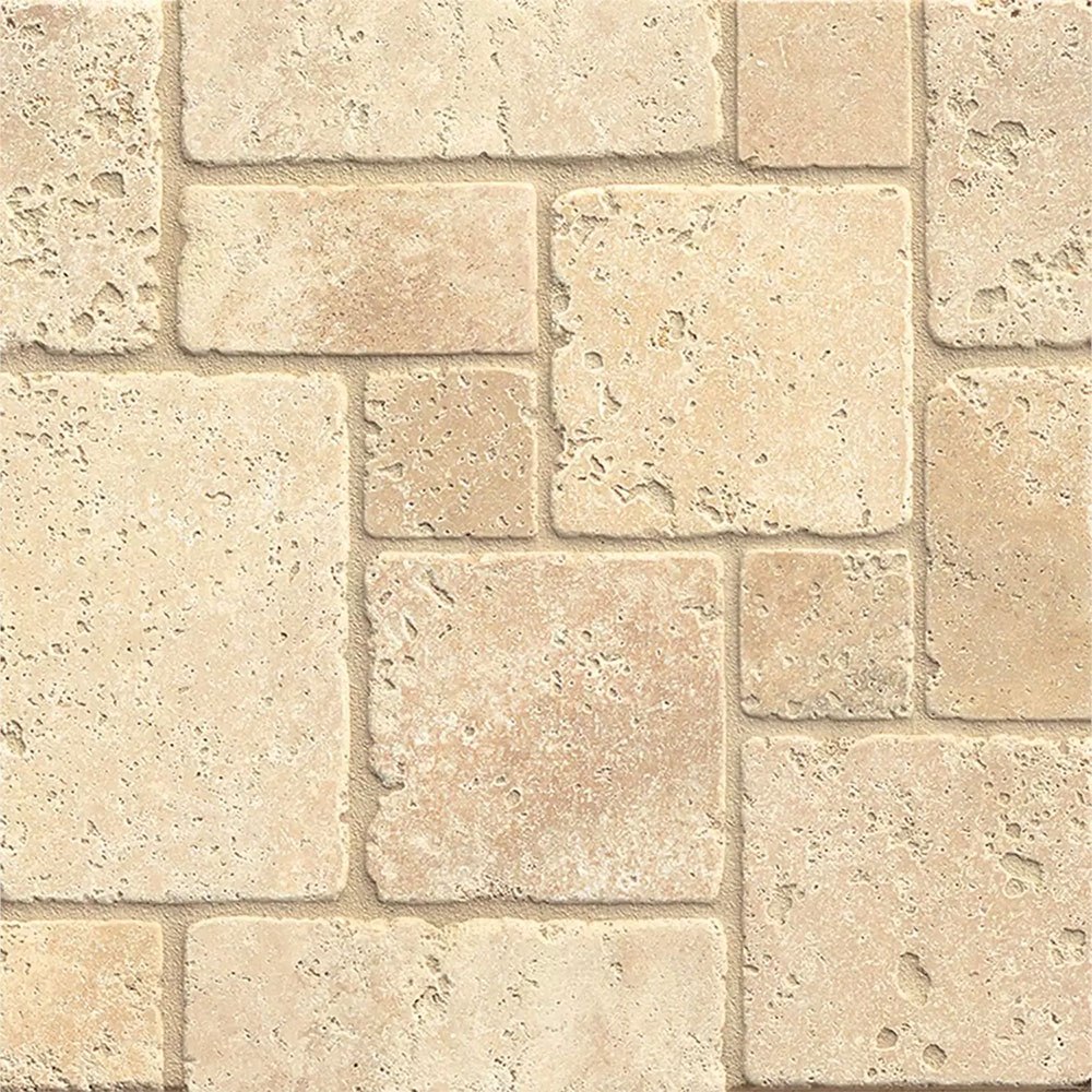 Tilecrest Travertine Stone Mini Versailles Pattern Mosaic